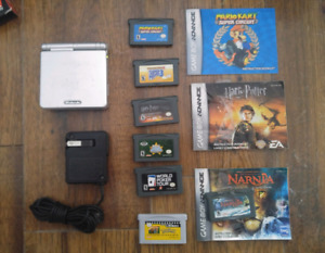 GBA SP AGS-001 with 7 games, GBA+games, manuals and hard case