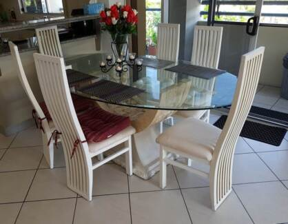 Nick Scali Fossil Dining Table and Chairs x 7