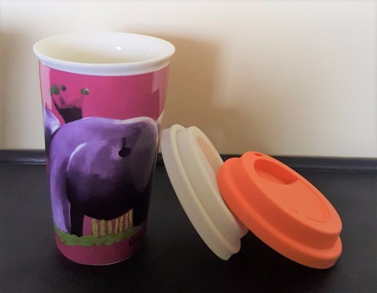 Brand NEW*** Porcelain Tumbler Mug Glass Cup with lid