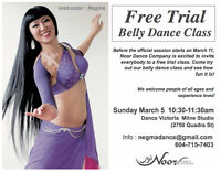 Free Trial Belly Dance Class on March 5th!