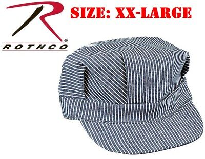 ( SIZE XX-LARGE) Rothco Hickory Stripe Railroad Cap Engineer Railroad Hat 5448