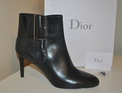 $1,150 Christian DIOR Graphic BLACK Leather Buckle Strapped Ankle Boot Shoe 40.5