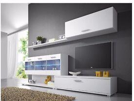 Wall unit ZEPHYR / Free LED !!! / TV stand / Living room furniture / Matte Effect