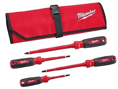 Milwaukee 48-22-2204 4 Pc 1000v Insulated Screwdriver Set Wroll Pouch
