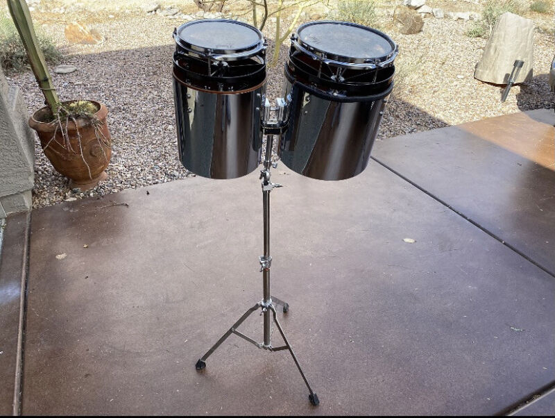 "Pearl 1970s Chrome Wrapped Vari Pitch 8"" & 10"" Toms W/ Stand Rare Free Shipping!"