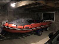 4.3m SIB boat with 30HP Evinrude E-TEC Outboard