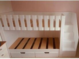 White solid wood bunk bed