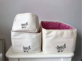 Cream and pink make up/toiletries soft storage boxes