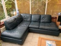 Leather Corner Sofa with Matching Footstool - Navy