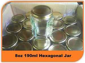 60 X 8oz 190ml HEX PRESERVE HEXAGONAL GLASS JAR JAM HONEY CHUTNEY WITH LIDS