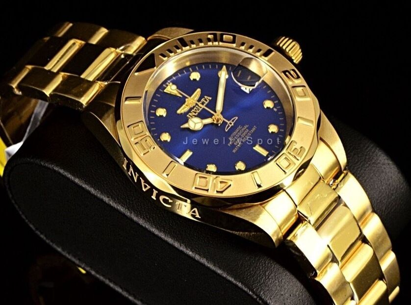 $79.95 - New Invicta Pro Diver Automatic w/24 Jewels Gold Tone Blu Dial SS Bracelet Watch