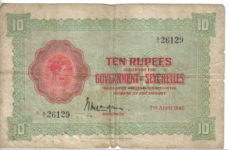 SEYCHELLES, 10 RUPEES, KGVI, 1942