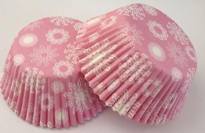Frozen Cupcake Liner (Pink Snowflake Baking Cup Cupcake Liner Paper 24 COUNT Winter Frozen Snow )