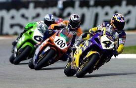 Genuine WSBK Frankie Chili 2001 Suzuki leathers and triclore helmet.