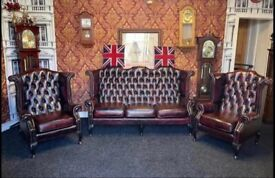 3 Piece Extreme Rare Chesterfield Thomas Lloyd Suite Settee Luxury Set As New Oxblood Bargain