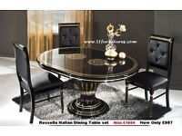 Hand crafted High Gloss Italian Dining Table with diamonte Chairs, Rossella Italian Dining Table