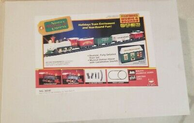 Vintage Bright Santas Musical Express Christmas Train Set Sounds Electronic