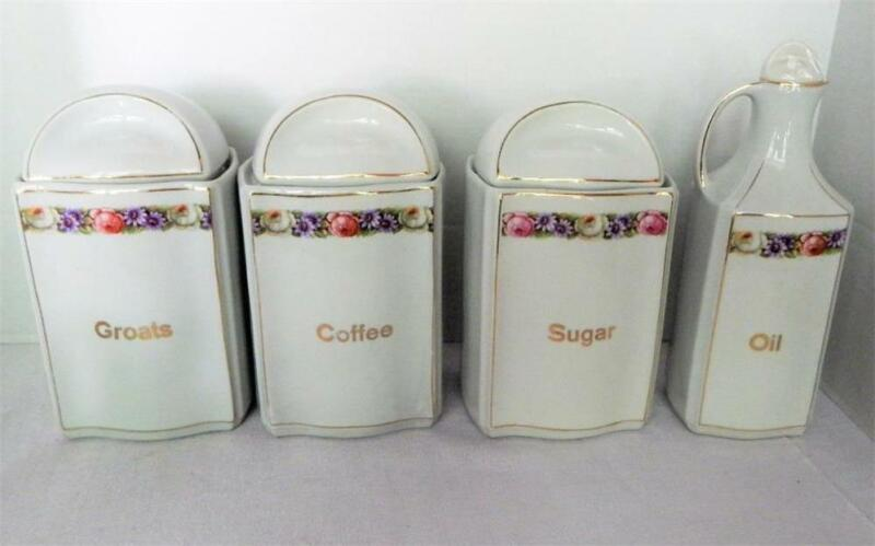 Vintage Canister Set With Lids - Made in Germany -  Coffee, Sugar, Groats & Oil