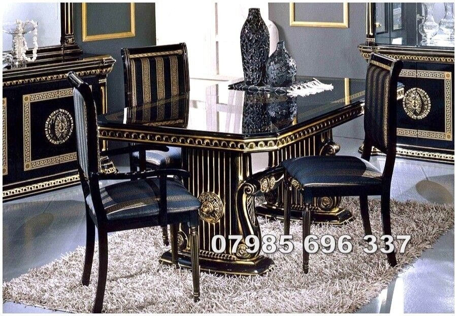 Rosa Italian Dining Table And 6 Chairs In High Gloss With Gold Design