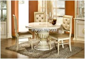 Versace style Rossella Italian Dining Table and Chairs High Gloss finish with Crystal stone