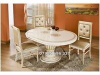 luxurious Italian Dining Table and Chairs, extendable high gloss Italian Dining Table