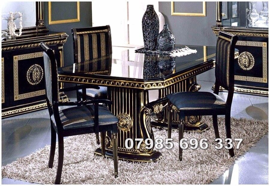 Versace Design Rossella Italian Extendable Dining Table And 6 Chairs In  High Gloss With Gold Design