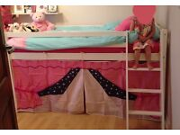 White Cabin bed / mid sleeper - includes mattress