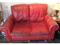 Red Leather Two Seater Sofa For Sale