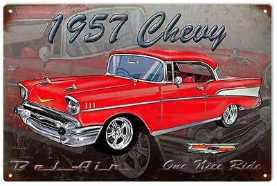 1957 Chevy Hot Rod Sign Garage Art