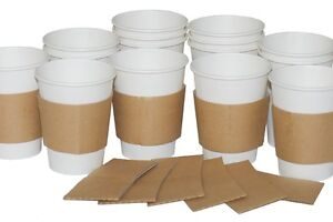 100x Large Coffee Clutches Sleeves Kraft Cardboard 10,12,16oz cups VAT Included