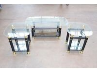 BRAND NEW NEST OF 3 x BLACK,GOLD & GLASS TABLES