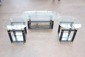 3 Glass Tables in Black & Gold, Roma Occasional Set Modern Design NEW