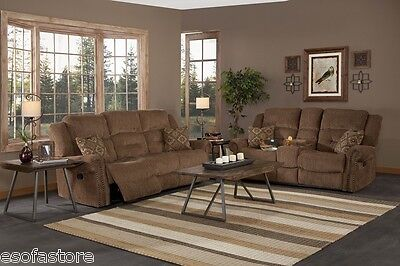 2 Piece Fabric Loveseat - 2 Piece Recliner Sofa Set Cocoa Brown Fabric Sofa Loveseat Living Room Furniture