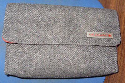 Air Canada Business First Class Gray Tweed W  Red Amenity Tote Kit Clutch Bag