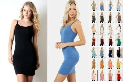 COTTON SPANDEX EXTRA LONG CAMI CAMISOLE TUNIC TOP BODYCON MINI DRESS SLIP  S-XL Cotton Long Top Dress