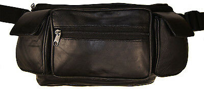Large Black Solid Leather Waist Fanny Pack Belt Bag Travel Hip Purse Mens Womens