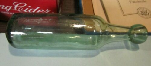"""Antique Aqua Green Rounded End 9"""" Glass Bottle Soda Wine Beer Rare Find"""