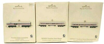 2007 Hallmark Keepsake Ornament Lionel Freedom Train Set of 3 NIB