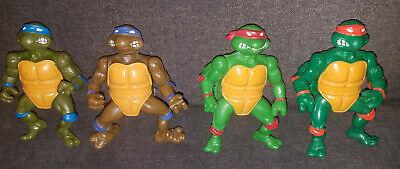 All 4 Vintage TMNT Ninja Turtles Playmates Action Figures Leo Mikey Donnie Raph
