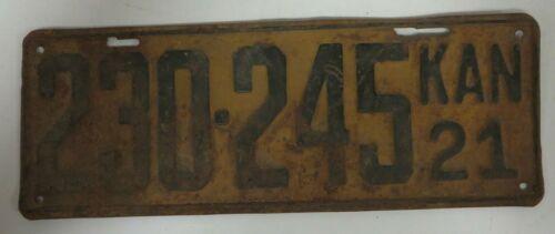 Vintage 1921 KANSAS License Plate Tag 230-245 County White w/ Black Antique
