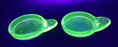 Set 2 Macbeth Evans Green Vaseline Uranium Depression Glass Coaster Spoon rest