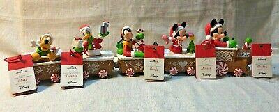 Disney Express Mickey Mouse Set of 5 Hallmark Christmas Train Goofy Pluto Donald