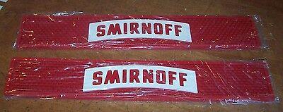 """Lot of 2 SMIRNOFF Vodka Rubber Drip Mat Drink Rail 3.5"""" x 21"""" Home Bar Mancave"""