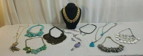 10 Piece NECKLACES Costume Jewelry Lot GOLDTONE, Turquoise, Purple Stone # 18