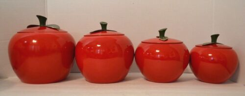Mid Century Red Apple Aluminum Canister Set of 4