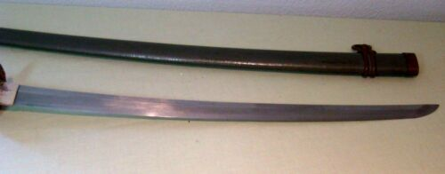 Antique Japanese Sword Signed Nori Mitsu Samurai Katana w WW II Scabbard