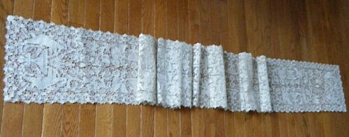 """Antique wedding banquet runner h done reticella needle lace & figural 122""""x11"""""""