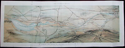 Manchester Liverpool England proposed ship canal route 1883 rare old color print