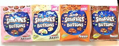 NEW Nestle SMARTIES BUTTONS - MILK, WHITE Chocolate, ORANGE, PINK Flavours Bags