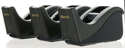 3 Pack Scotch Desktop Tape Dispenser Silvertech Two-tone Black And Charcoal -c60